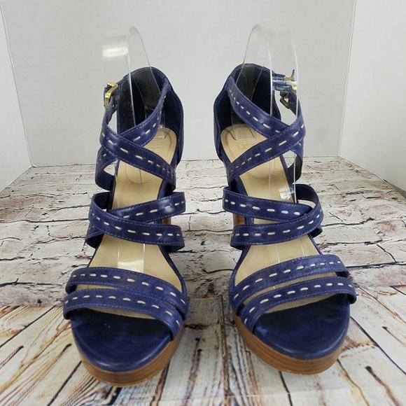 Ugg Shoes - Ugg Blue Strappy Platform Heel Sandals EUC 9